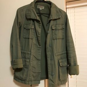 Green fitted army jacket by Ecote